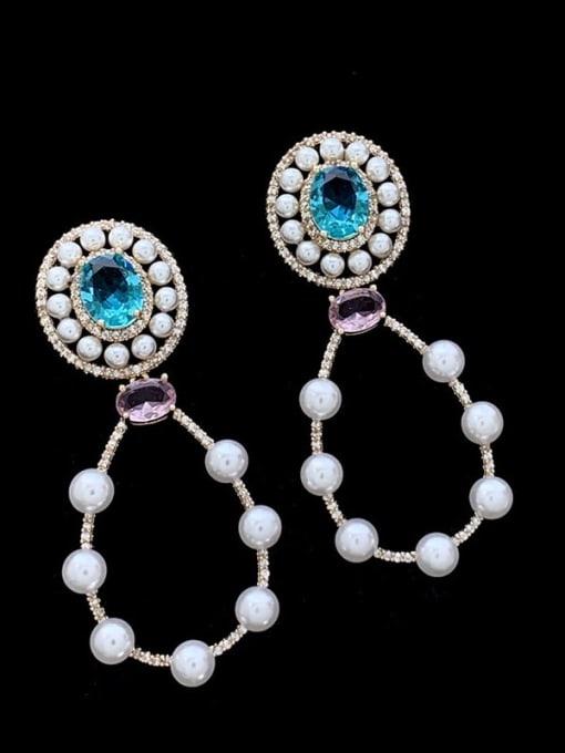 SUUTO Brass Imitation Pearl Geometric Luxury Drop Earring 0