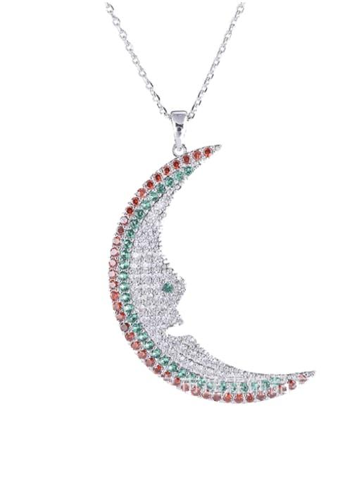colour Brass Cubic Zirconia Moon Statement Necklace