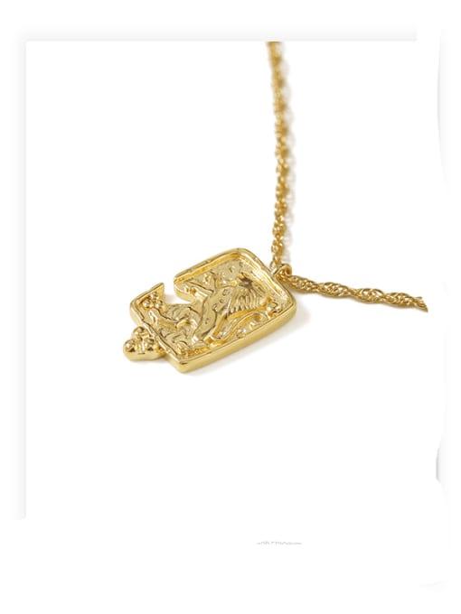 ACCA Brass Lion Vintage round pendant Necklace 4