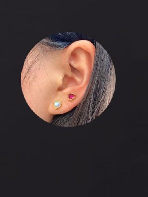 HISON Brass Cubic Zirconia Heart Hip Hop Stud Earring 3