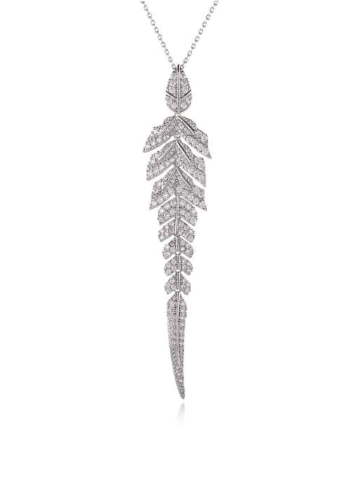 platinum Brass Cubic Zirconia Flower Minimalist Necklace