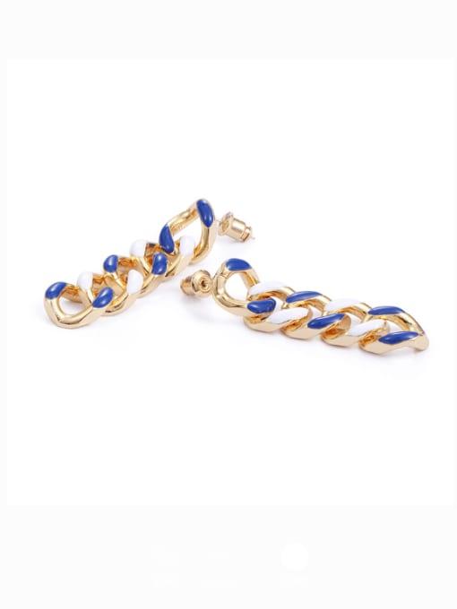 Chain Earrings Brass Enamel Geometric Hip Hop Drop Earring