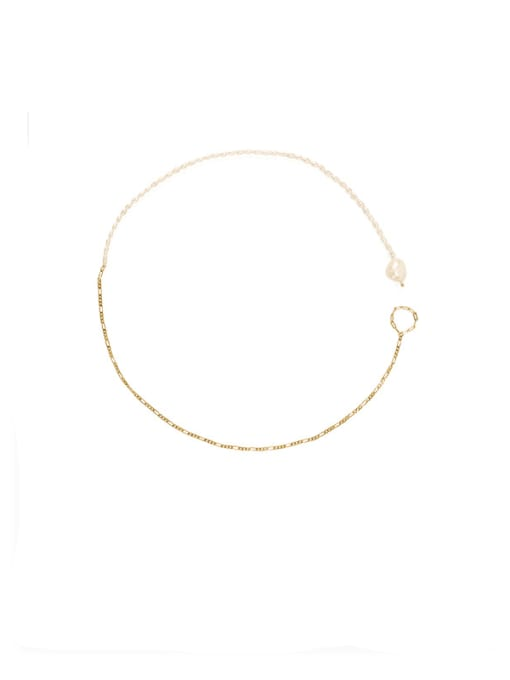 ACCA Brass Freshwater Pearl Geometric Minimalist Necklace