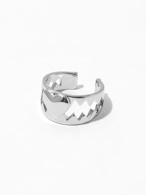 Platinum Brass Heart Vintage Band Ring
