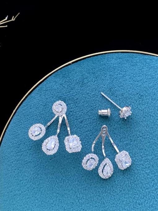 SUUTO Brass Cubic Zirconia Geometric Statement Drop Earring 2
