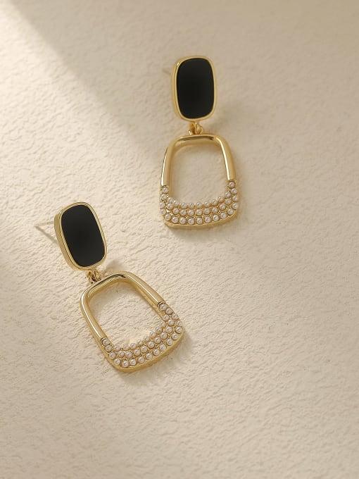 14L gold pearl Brass Rhinestone Enamel Geometric Vintage Drop Trend Korean Fashion Earring
