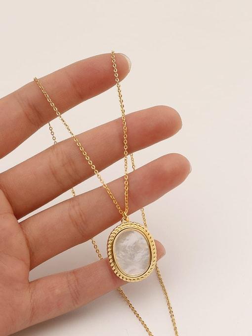 HYACINTH Brass Shell Geometric Minimalist Pendant Necklace 0