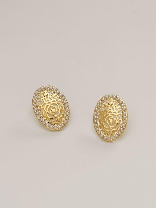 14k Gold Brass Imitation Pearl Flower Minimalist Stud Earring