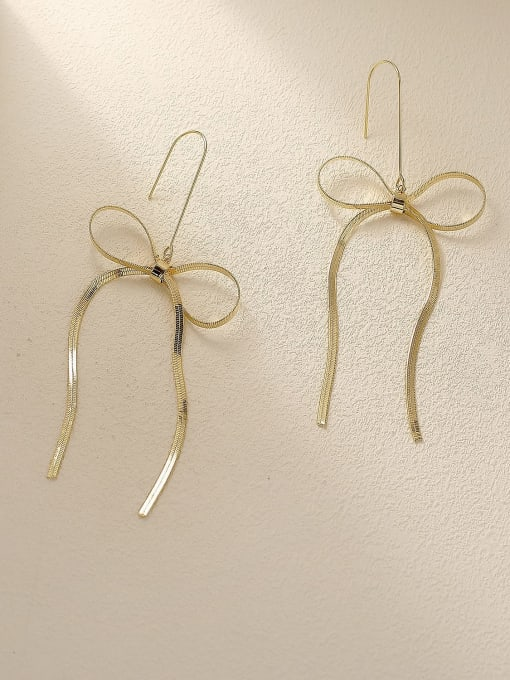 HYACINTH Brass Butterfly Tassel Minimalist Threader Earring 3