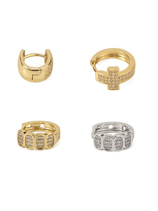 ACCA Brass Cubic Zirconia Geometric Vintage Huggie Earring 0