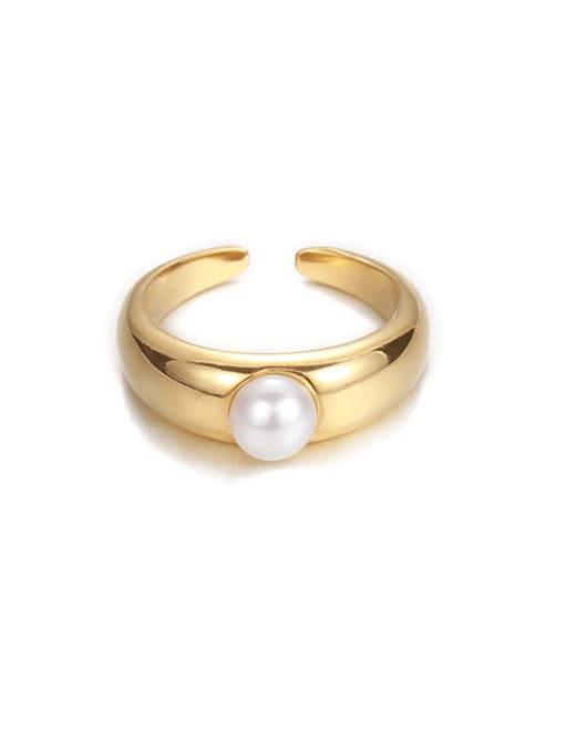 Pearl ring (not adjustable) Brass Imitation Pearl Irregular Minimalist Band Ring