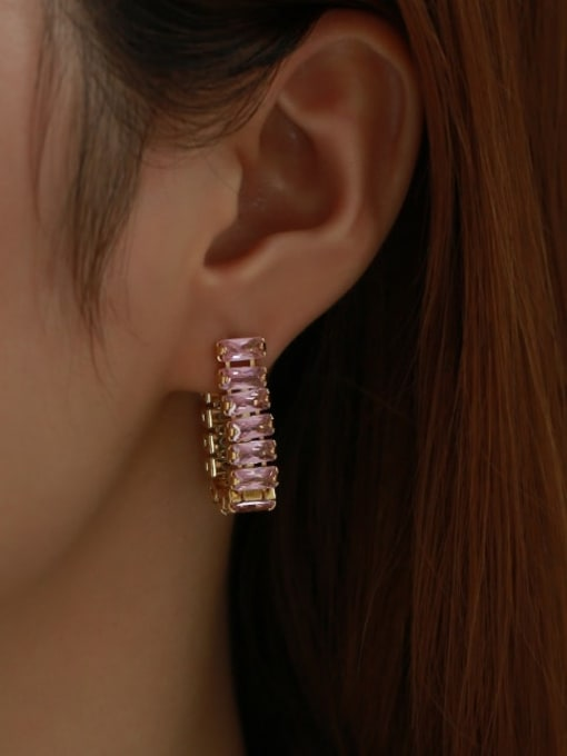 Five Color Brass Cubic Zirconia Rainbow Minimalist Drop Earring 3