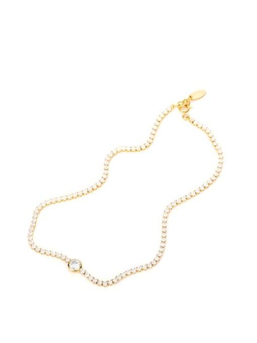 Zircon Necklace Brass Cubic Zirconia Geometric Vintage Necklace