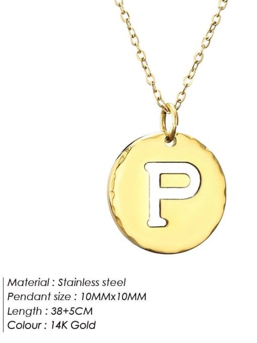 P Titanium Steel Letter Minimalist Round Pendant Necklace