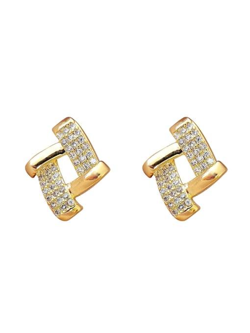 HYACINTH Brass Cubic Zirconia Geometric Vintage Stud Earring 0