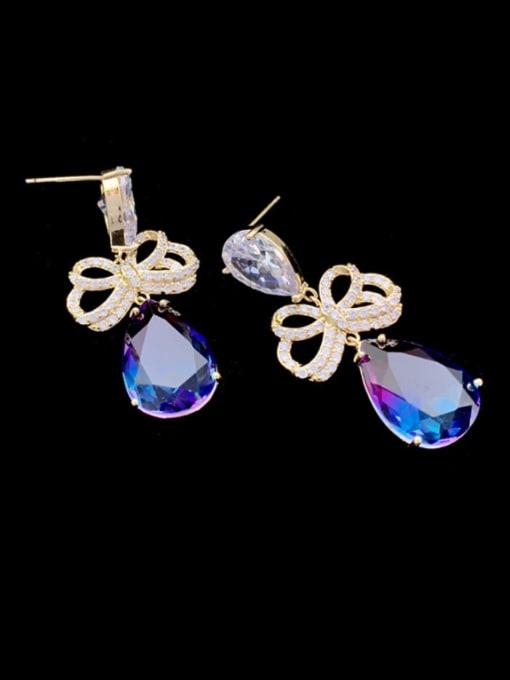 SUUTO Brass Cubic Zirconia Water Drop Luxury Drop Earring 1
