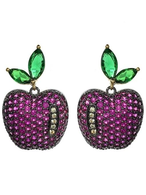 purple Brass Cubic Zirconia Friut Vintage Stud Earring