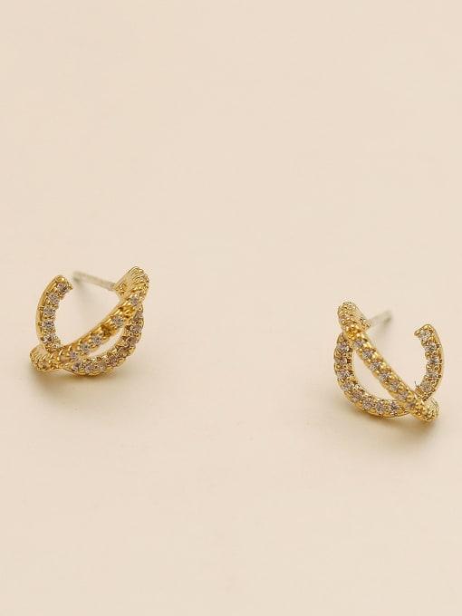HYACINTH Brass Cubic Zirconia Irregular Minimalist Stud Earring 1