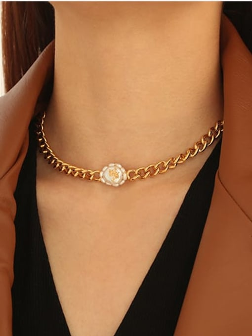 ACCA Brass Freshwater Pearl Geometric Vintage Necklace 1