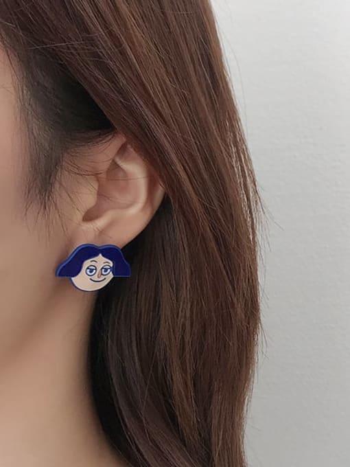 Five Color Alloy Enamel Angel Cute Stud Earring 1