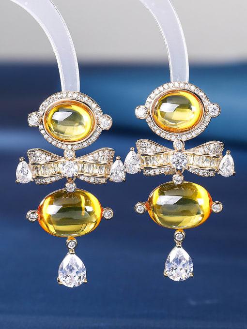 yellow Brass Cubic Zirconia Irregular Luxury Drop Earring