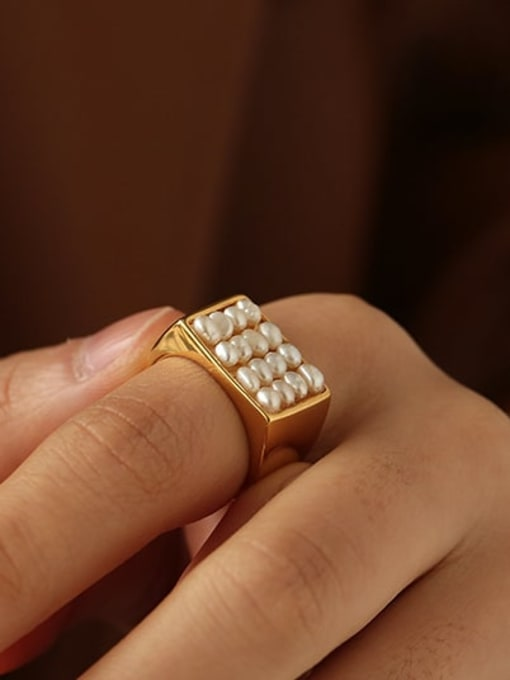 ACCA Brass Imitation Pearl Geometric Vintage Band Ring 2