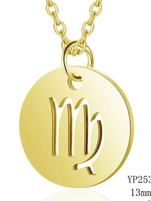 Virgo gold Titanium Steel Constellation Minimalist  Round Pendant Necklace