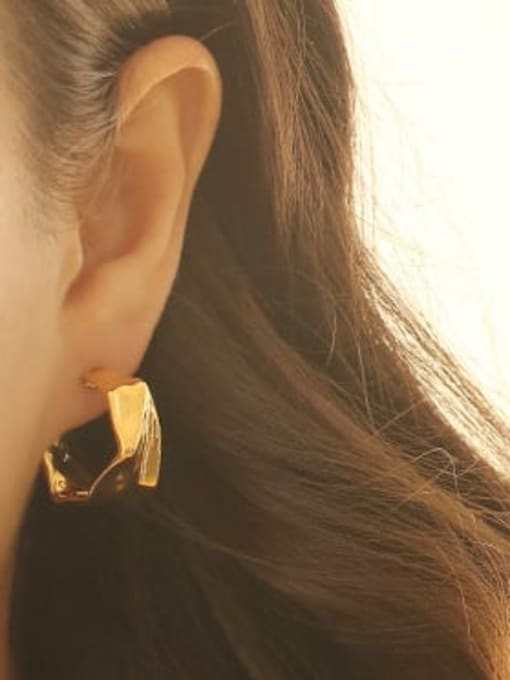ACCA Brass smooth Irregular Minimalist Stud Earring 1