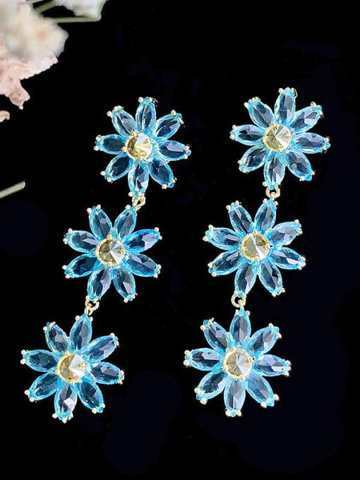 SUUTO Brass Cubic Zirconia Flower Trend Drop Earring 1