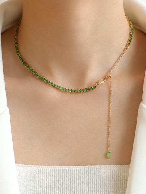 Five Color Brass Cubic Zirconia Geometric Hip Hop Necklace 1