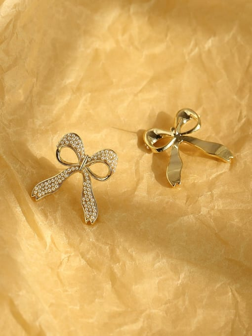 HYACINTH Brass Cubic Zirconia Bowknot Ethnic Stud Earring 4