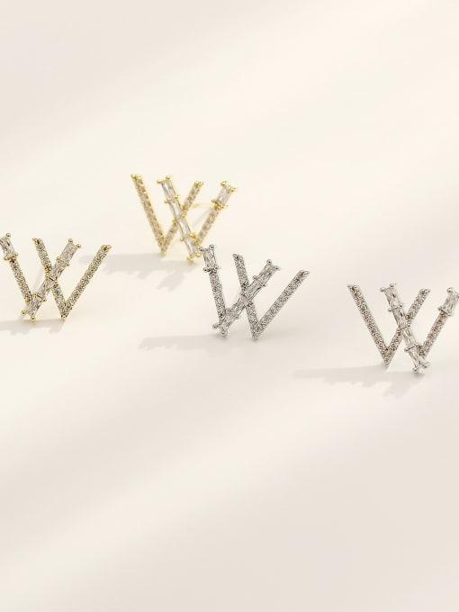 HYACINTH Brass Cubic Zirconia Letter W Vintage Stud Earring 2
