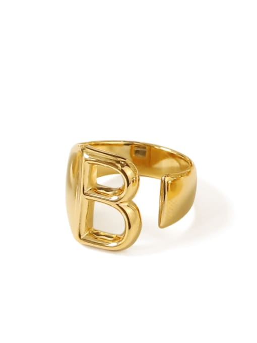 B Brass  26 Letter Vintage Band Ring