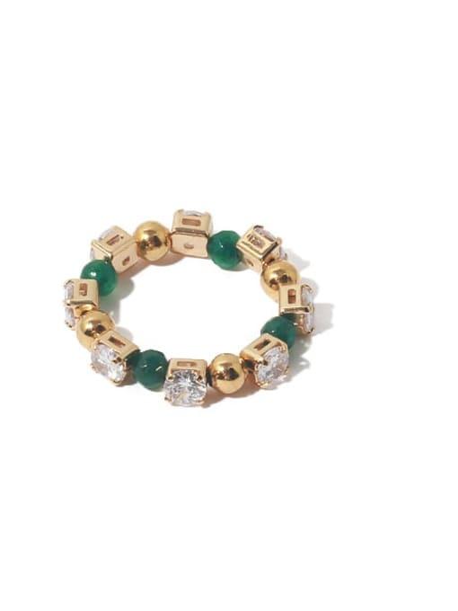 TINGS Brass Cubic Zirconia Geometric Vintage Bead Ring 3