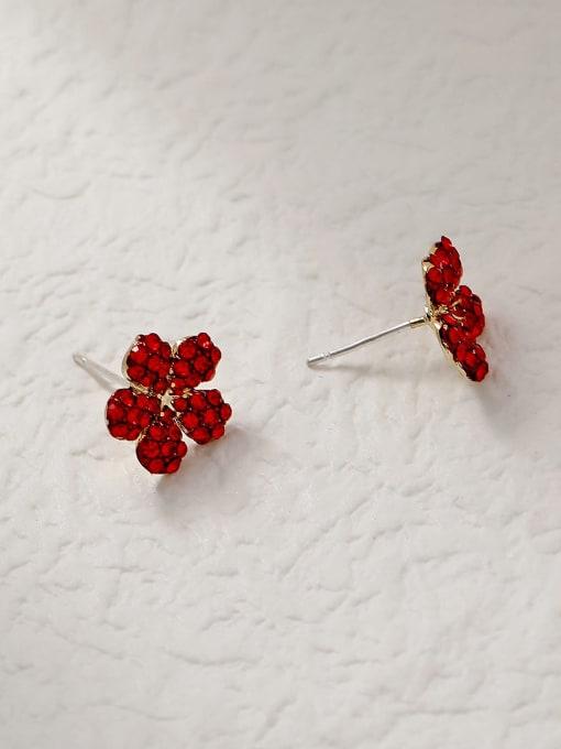 HYACINTH Brass Rhinestone Flower Minimalist Stud Trend Korean Fashion Earring 2