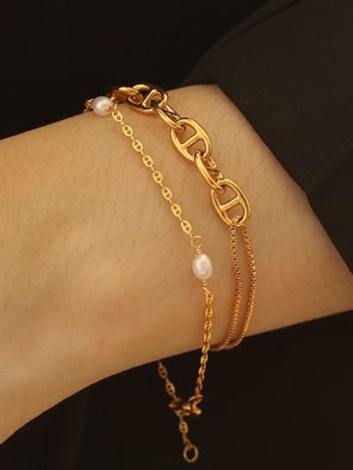 ACCA Brass Freshwater Pearl Irregular Minimalist Link Bracelet 1
