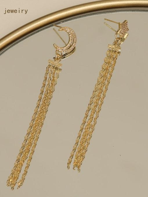 HYACINTH Copper  Moon Star  Tassel Vintage Threader Earring 1