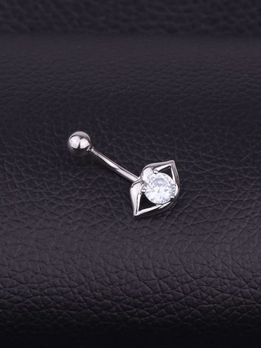 HISON Stainless steel Cubic Zirconia Mouth Hip Hop Belly Rings & Belly Bars 1