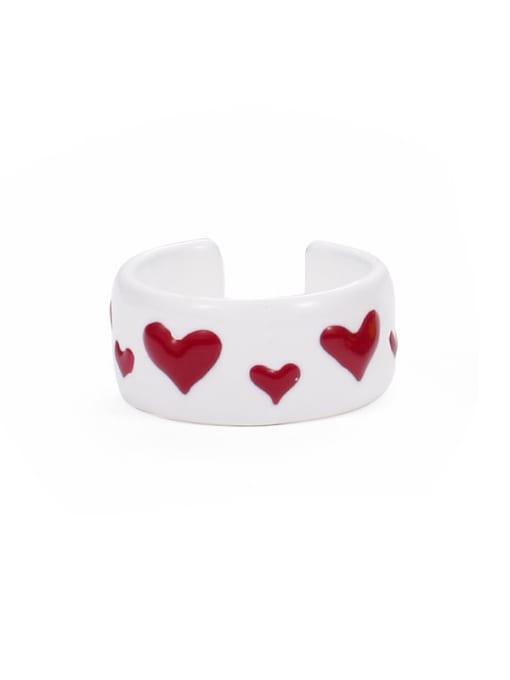 Section 4 (No. 6 and No. 7) Zinc Alloy Enamel Heart Minimalist Band Ring