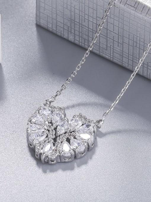 platinum Brass Cubic Zirconia Heart Statement Necklace