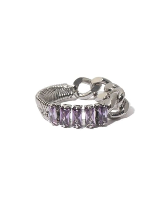 TINGS Brass Cubic Zirconia Geometric Vintage Band Ring 0