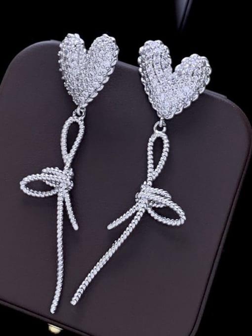 SUUTO Brass Cubic Zirconia Heart Luxury Threader Earring 3