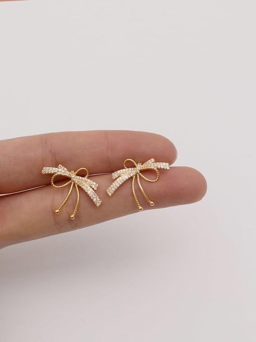 HYACINTH Brass Cubic Zirconia Bowknot Vintage Stud Earring 1