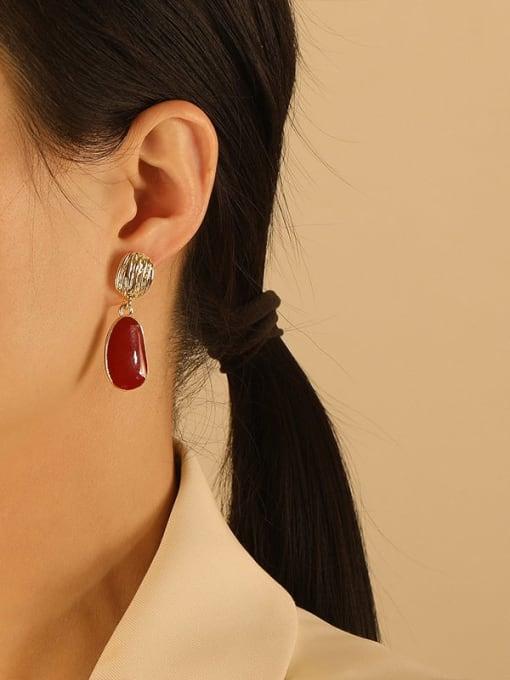 HYACINTH Brass Enamel Geometric Vintage Drop Earring 2