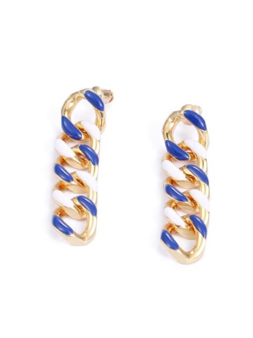 Five Color Brass Enamel Geometric Hip Hop Drop Earring