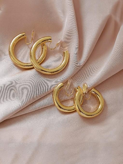 HYACINTH Brass Geometric Minimalist Hoop Earring 0