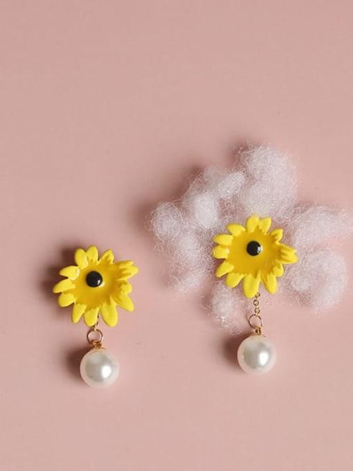 Five Color Alloy Imitation Pearl Enamel Flower Cute Stud Earring 0