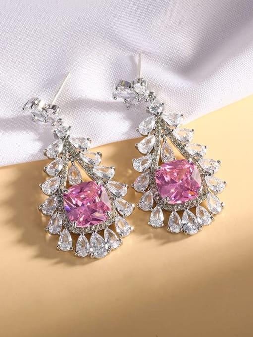 Pink Brass Cubic Zirconia Geometric Statement Drop Earring