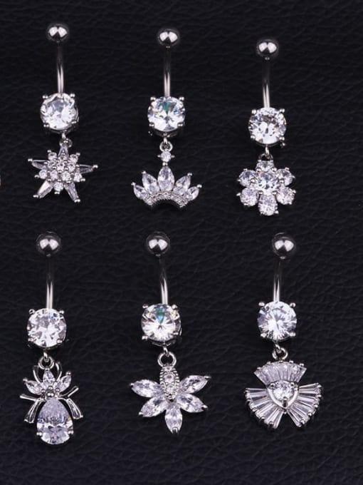 HISON Titanium Steel Cubic Zirconia Flower Hip Hop Belly Rings & Belly Bars 1