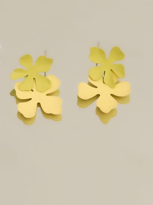 HYACINTH Brass smooth Flower Minimalist Drop Earring 3